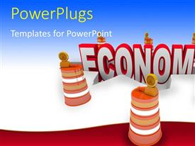 PowerPlugs: PowerPoint template with a text that spell out the word 'economy' falling into a hole in the ground