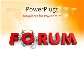 PowerPlugs: PowerPoint template with the word forum with a lot of figures and map in background