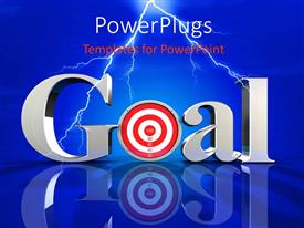 PowerPoint template displaying the word goal wih a bluish background