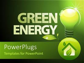 PowerPlugs: PowerPoint template with word green energy with environment friendly light bulb and foliage