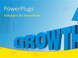 PowerPlugs: PowerPoint template with 3D rendered word GROWTH on blue background