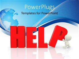 PowerPoint template displaying the word help with bluish background and a globe