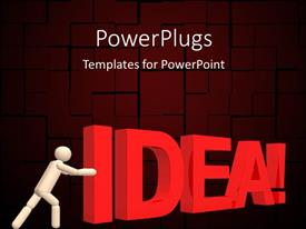 PowerPoint template displaying the word idea being pushed by a person