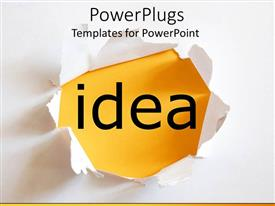 PowerPoint template displaying the word idea with yellowish background and place for text