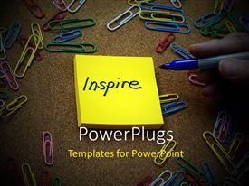 PowerPoint template displaying the word inspire with clips in the background