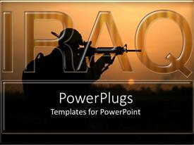 PowerPoint template displaying word IRAQ with black silhouette of shooter in war with dawn background