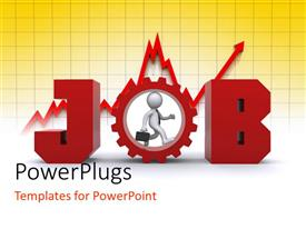 PowerPoint template displaying the word job with a person in it and graph in background