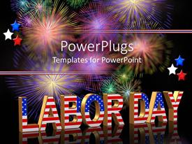 PowerPlugs: PowerPoint template with the word labor day in form of American flag