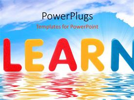 PowerPlugs: PowerPoint template with the word learn with sea in the background