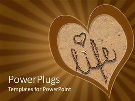 PowerPlugs: PowerPoint template with the word 'life' written in beach sand  and brown background