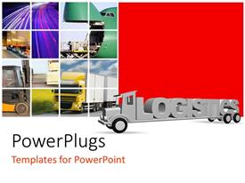 PowerPoint template displaying the word logistics on an old grey truck with various transportation vehicles in background