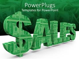 PowerPlugs: PowerPoint template with a word made of dollar notes with their reflection in the background