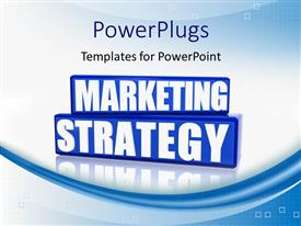 PowerPoint template displaying word MARKETING STRATEGY with reflection in background