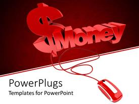 PowerPlugs: PowerPoint template with the word money and dollar sign connected to a mouse