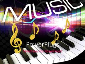 PowerPlugs: PowerPoint template with word Music above gold musical notes and piano keyboard