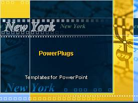 PowerPlugs: PowerPoint template with the word new york  in various fonts