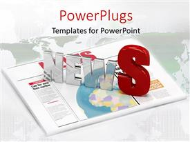 PowerPlugs: PowerPoint template with the word news with newspaper in the background