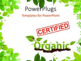 PowerPlugs: PowerPoint template with the word organic written with the help of leaves