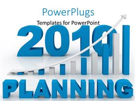PowerPlugs: PowerPoint template with word planning and financial bars showing growth in front and the year 2010
