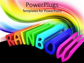 PowerPlugs: PowerPoint template with the word rainbow being written in a colorful way
