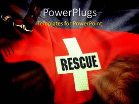 PowerPlugs: PowerPoint template with the word rescue on a cross