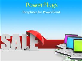 PowerPoint template displaying the word sale under the umbrella with a lot of laptops