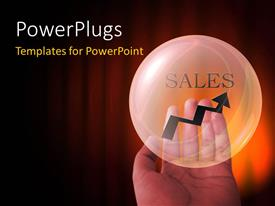 PowerPlugs: PowerPoint template with word SALES with arrow in transparent sphere over orange background