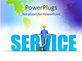 PowerPlugs: PowerPoint template with the word service with a construction worker in front of it