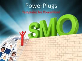 PowerPlugs: PowerPoint template with the word SMO with a ladder and a person
