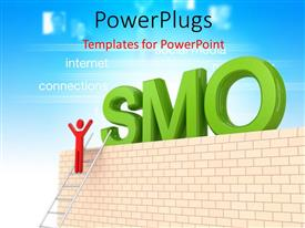 PowerPlugs: PowerPoint template with the word SMO with a person climbing the ladder
