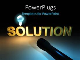 PowerPoint template displaying the word solution with a light and a bulb