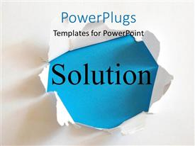 PowerPlugs: PowerPoint template with the word solution with a white background