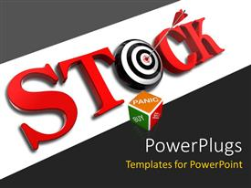 PowerPlugs: PowerPoint template with the word stock with a dartboard and grayish background