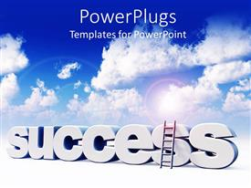 PowerPlugs: PowerPoint template with the word success with clouds in the background