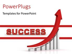 PowerPlugs: PowerPoint template with the word success and a growth graph and place for text