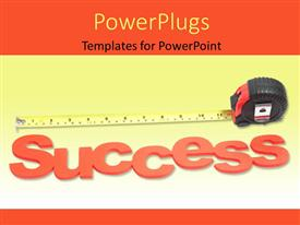 PowerPoint template displaying the word success and a measuring tape in the background