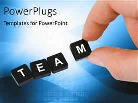 PowerPlugs: PowerPoint template with the word team in boxes with bluish background and place for text
