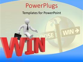 PowerPoint template displaying the word win with a person and globe in the background