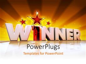 PowerPlugs: PowerPoint template with word winner in 3D with number One with rays rising from background