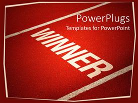 PowerPlugs: PowerPoint template with the word winner written on a red background