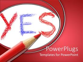 PowerPoint template displaying the word yes and a red color pencil