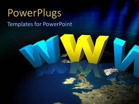 PowerPlugs: PowerPoint template with the words with a globe in background