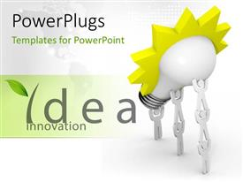 PowerPlugs: PowerPoint template with the words idea innovation with a bulb