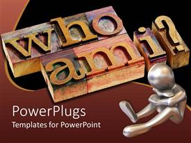 PowerPlugs: PowerPoint template with who am I words and question mark on 3D wooden blocks and 3D figure thinking sitting sad on the ground