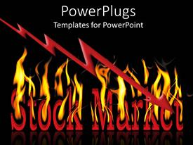 PowerPlugs: PowerPoint template with the words stock market on fire with blackish background