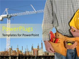 PowerPlugs: PowerPoint template with a worker on a construction site with all the necessary tools needed