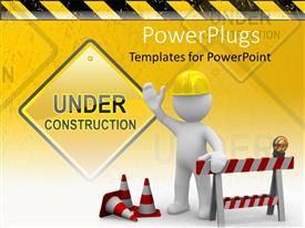 PowerPlugs: PowerPoint template with a worker wearing yellow hat telling about the under construction of something
