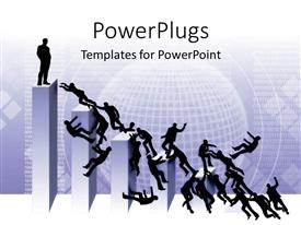 PowerPoint template displaying working ladder business climb higher positions competition ceo boss