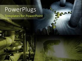 PowerPlugs: PowerPoint template with the working o industry explained with industrial background and machinery