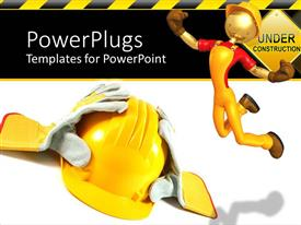 PowerPoint template displaying working yellow helmet and gloves on a white background